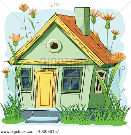 Old Cozy Garden House. Fabulous Cartoon Object. Cute Childish Style. Ancient Dwelling. Tiny, Small.