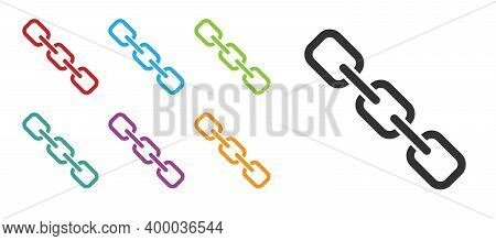 Black Chain Link Icon Isolated On White Background. Link Single. Hyperlink Chain Symbol. Set Icons C
