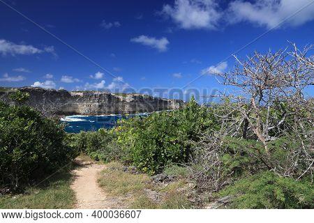 Guadeloupe Hiking Trail - Porte D'enfer (hell's Gate). Caribbean Landscape.