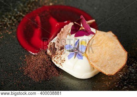 Panna Cotta With Flower Dessert