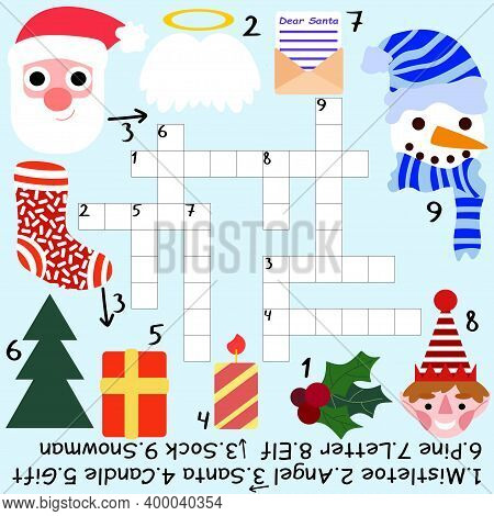 Educational Christmas Crossword For Kids Stock Vector Illustration. Funny Childish Crossword With Sa