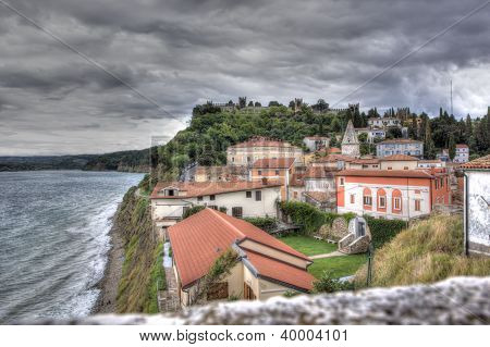 View On The Historical City Of Piran Under A Threatening Sky, Slovenia
