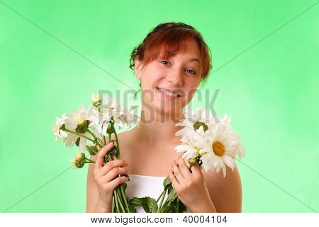 Funny Young Girl With Chamomile Flowers