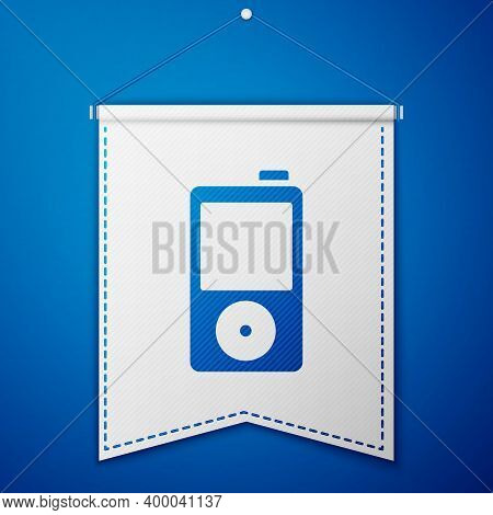 Blue Music Player Icon Isolated On Blue Background. Portable Music Device. White Pennant Template. V