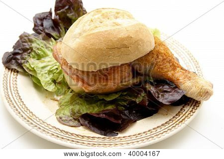Raw Marinated Chicken Drumstick in Bread Roll