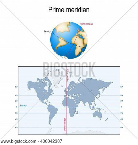 Earth's Equator, And Prime Meridian On A Globe. Map With Parallels, Longitude And Latitude. Geograph