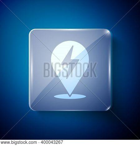 White Lightning Bolt Icon Isolated On Blue Background. Flash Icon. Charge Flash Icon. Thunder Bolt.