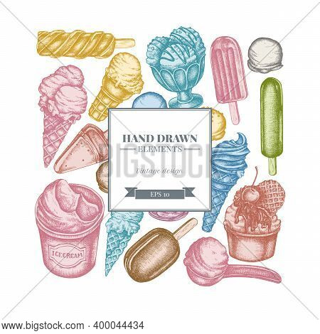 Square Design With Pastel Ice Cream Bowls, Ice Cream Bucket, Popsicle Ice Cream, Ice Cream Cones Sto