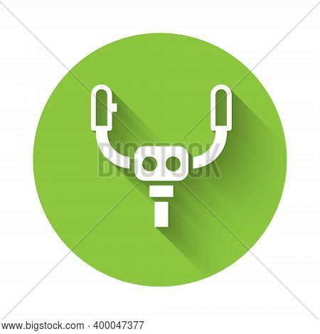 White Aircraft Steering Helm Icon Isolated With Long Shadow. Aircraft Control Wheel. Green Circle Bu
