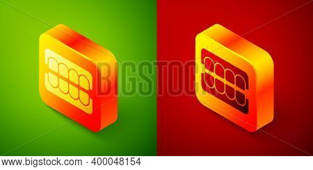 Isometric False Jaw Icon Isolated On Green And Red Background. Dental Jaw Or Dentures, False Teeth W