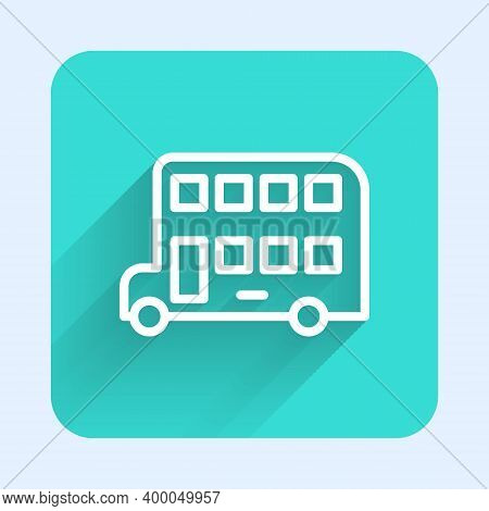 White Line Double Decker Bus Icon Isolated With Long Shadow. London Classic Passenger Bus. Public Tr