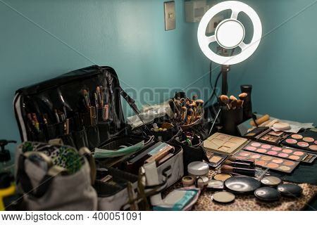 Led Light In Makeup Room.  Decorative Cosmetics And Tools On Dressing Table In Makeup Room. Artist M