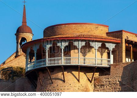 Georgia, Tbilisi - November 28, 2020: Houses With Balconies In The Historic District Of Tbilisi. Geo
