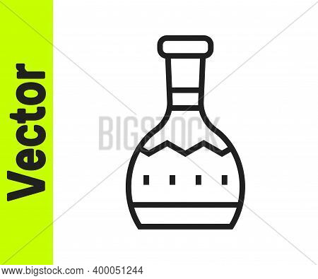 Black Line Tequila Bottle Icon Isolated On White Background. Mexican Alcohol Drink. Vector