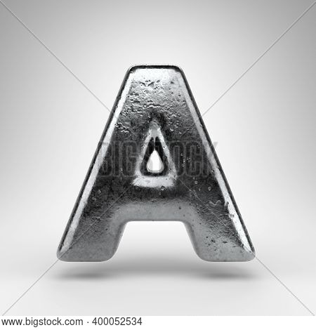 Letter A Uppercase On White Background. Iron 3d Rendered Font With Gloss Metal Texture.