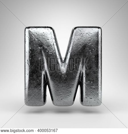 Letter M Uppercase On White Background. Iron 3d Rendered Font With Gloss Metal Texture.