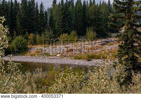 Fall Settling In Over The River. Highwood Provincial Recreation Area, Alberta, Canada