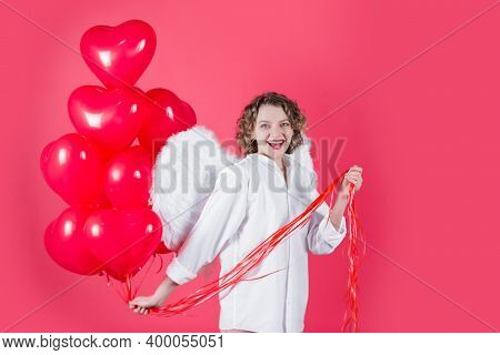 Valentines Day Cupid. Angel Woman With Balloons. Woman Cupid In Valentine Day. Woman Cupid. Valentin