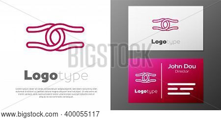 Logotype Line Rope Tied In A Knot Icon Isolated On White Background. Logo Design Template Element. V
