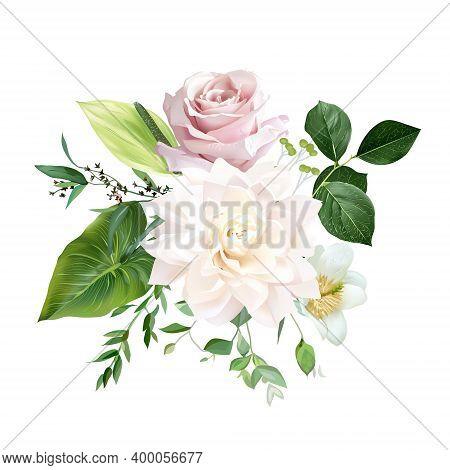 Blush Pink Rose, Ivory White Dahlia, Spring Garden Flowers, Salal, Anthurium, Tropical Leaf, Greener