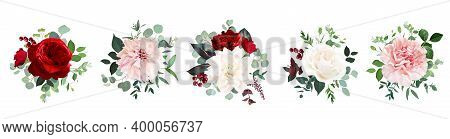 Classic Red Rose Flowers, White Ivory Dahlia, Carnation Vector Design Wedding Bouquets. Eucalyptus,