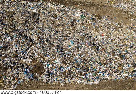 The Plastic Pollution In A Landfill Garbage Dump Aerial View.