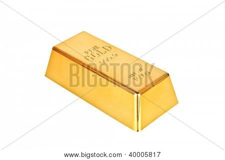 Gold bar on a white background