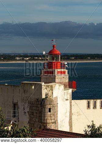 Outao, Portugal - 18 December, 2020: View Of The Fort Of Santiago Do Outao Lighthouse Near Setubal