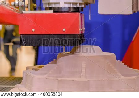 Cnc Engraving, Woodworking, Carving, Industrial, Manufacturing Concept. Automated Milling Machine Cu