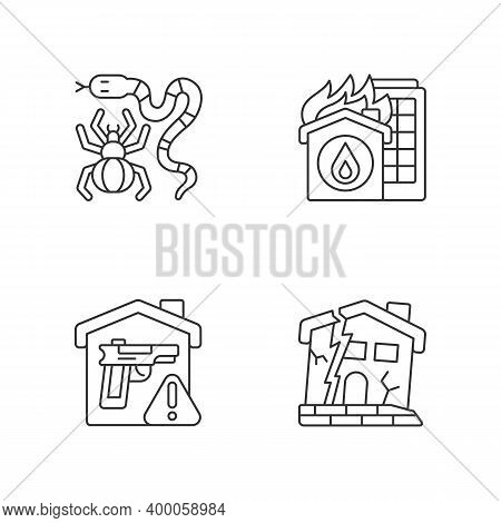 Home Hazards Prevention Linear Icons Set. Dangerous Animals. Fire. Weapons Storage. Dilapidated Hous