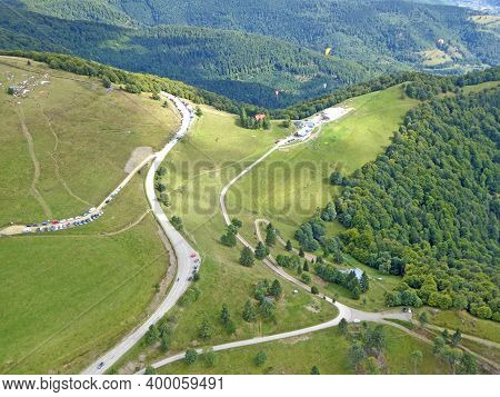 Paragliding At Treh Markstein In The Vosges Mountains, France