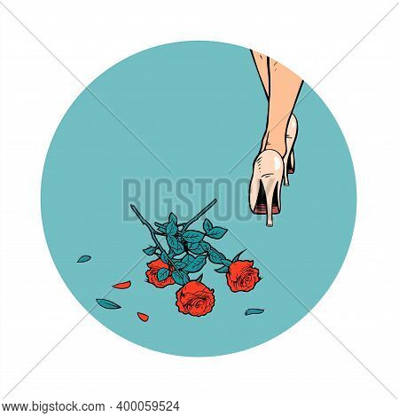 The Girl Threw The Flowers Away. Women Legs In Heels And A Bouquet Of Red Roses On The Floor. Vector