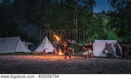 Cedynia, Poland, June 2019 Pagan Reenactment Of Kupala Night, Called In Poland Noc Kupaly, Man With