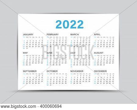 Calendar 2022 Template - 12 Months Yearly Calendar Set In 2022, Planner, Wall Calendar 2021, Vector