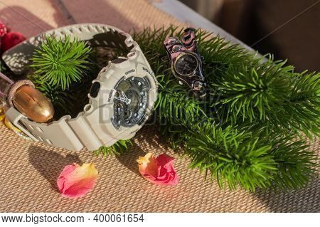 Universal Background For Christmas And New Year Greetings.  Women's And Men's Wristwatches. Contrast