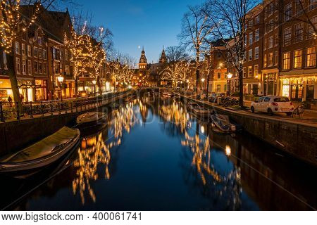Christmas in Amsterdam the Netherlands at sunset