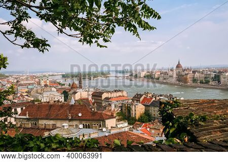 Budapest Cityscape With Panoramic Views Of The Parliament, Danube River, Margaret Island (margit) An