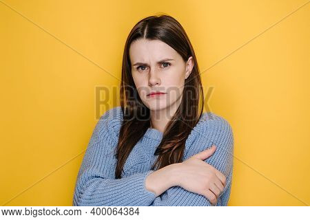 Depressed Lonely Unhappy Young Woman Looking At Camera With Gloomy Sad Expression, Millennial Girl F