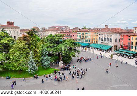 Verona, Italy - May 2018: Bra Square (piazza Bra) In Center Of Verona