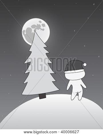 Girl in Santa cap near Christmas tree