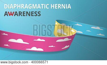 Realistic Cloud Ribbon. Awareness Congenital Diaphragmatic Hernia Awareness Month Poster. Vector Ill