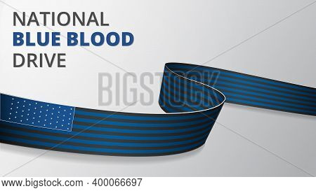 Realistic Blue And Black Ribbon. Vector Illustration. National Blue Blood Drive. Support To Americas