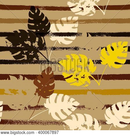 Sailor Stripes Vector Seamless Pattern, Brown Yellow Earth Tone Exotic Fabric. Watercolor