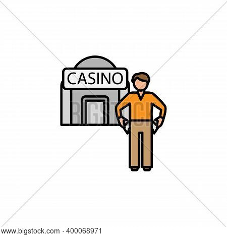 Bankrupt, Gambler Line Icon. Signs And Symbols Can Be Used For Web, Logo, Mobile App, Ui, Ux On Whit