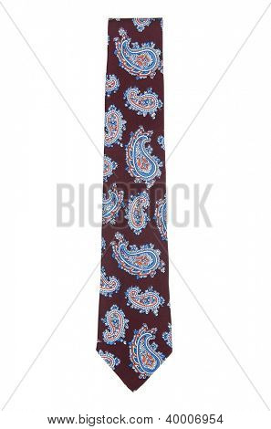 Elegant silk male tie ( necktie ) on white