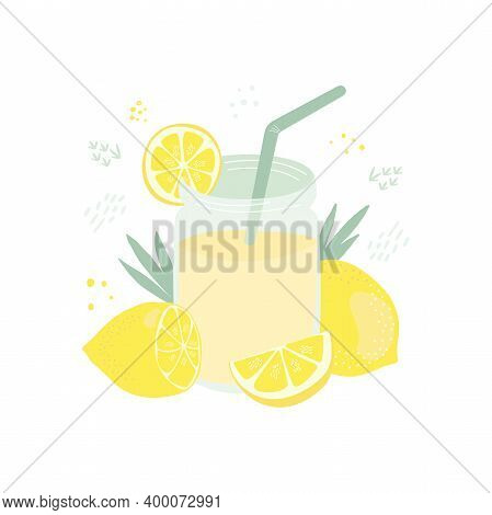 Flat Vector Summer Illustration Of Lemonade In A Jar With A Slice Of Lemon, A Green Straw, A Whole L