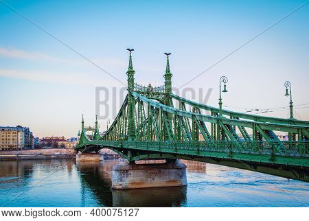 Budapest, Hungary, March 2020 View Of The Liberty Bridge Spanning Over The Danube River