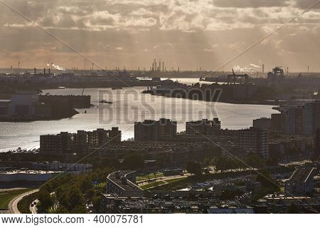 View from Rotterdam towards the port area, industrial facilities in the background