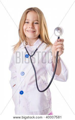 Little girl in doctor costume