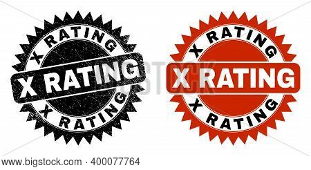 Black Rosette X Rating Seal Stamp. Flat Vector Distress Seal Stamp With X Rating Caption Inside Shar